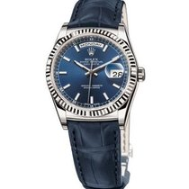 Rolex Day-Date 36 Or blanc 36mm Bleu Sans chiffres