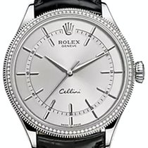 Rolex Cellini Time 50609RBR-0008 Rhodium Index Diamond Bezel...