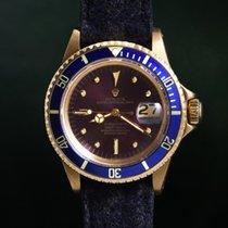 Rolex Submariner Date подержанные 40mm Синий Дата Жёлтое золото
