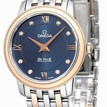 Omega De Ville Prestige Quartz Diamonds Blue Dial 27MM Watch...