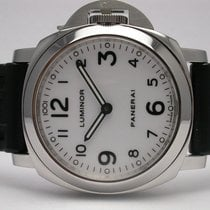 Panerai Pam00114 Ss 44mm Black Band Luminor Base White Dial...