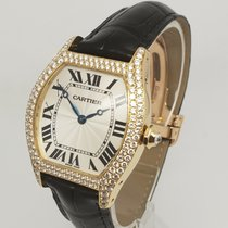 Cartier Tortue 18k Yellow Gold Diamond Manual LARGE Watch 2496...