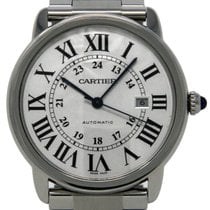 Cartier Steel Automatic Silver 42mm pre-owned Ronde Solo de Cartier