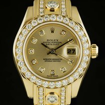 Rolex Lady-Datejust Pearlmaster Žluté zlato 29mm Šampaňská barva Bez čísel