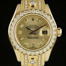 Rolex Lady-Datejust Pearlmaster Zuto zlato 29mm Boja šampanjca Bez brojeva