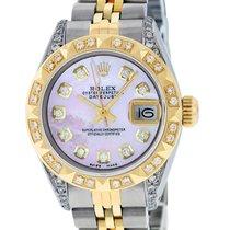 Rolex Datejust SS & 18K Yellow Gold Pink MOP Diamond Dial