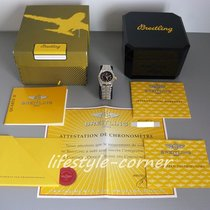 Breitling Wings Lady mit Rouleauxband in Stahl/Gold (Box &...