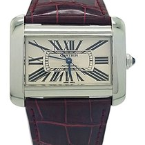 Cartier Large Size Tank Divan Stainless Steel Magenta Leather...
