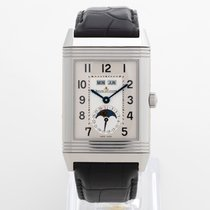 Jaeger-LeCoultre Grande Reverso Calendar pre-owned 30mm Silver Moon phase Date Leather