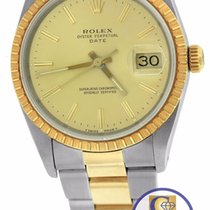 Rolex Date 15223 34mm Champagne 18K Two Tone Gold Steel Oyster...