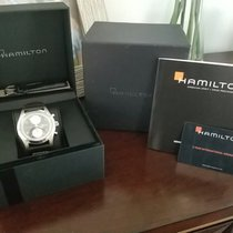 Hamilton Khaki pre-owned 42mm Grey Chronograph Date Weekday Leather
