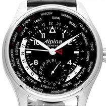 Alpina Startimer Pilot Manufacture gebraucht 44mm Schwarz Datum Leder