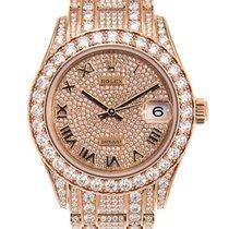 勞力士 Lady Oyster Perpetual 18 K Rose Gold With Diamonds Silver...