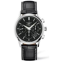 Longines Column-Wheel Chronograph pre-owned 40mm Black Chronograph Date Crocodile skin