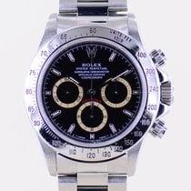 Rolex Daytona Stal 40mm Czarny Bez cyfr
