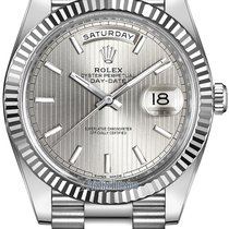 Rolex Day-Date 40mm White Gold 228239 Silver Stripe Index