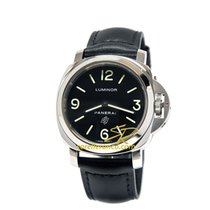 Panerai LUMINOR BASE LOGO Steel Blaci Dial & Leather 44mm PAM...