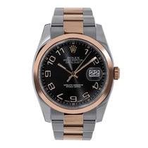 Rolex Datejust 36mm Steel & Rose Gold Black Circle Dial 116201