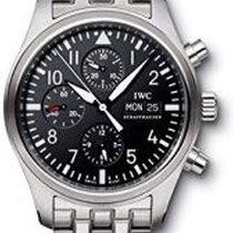 IWC Fliegeruhr Chronograph gebraucht 42mm Schwarz Chronograph Datum Wochentagsanzeige Stahl