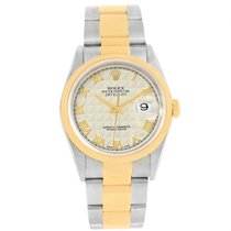 Rolex Datejust Steel Yellow Gold Ivory Pyramid Dial Mens Watch...