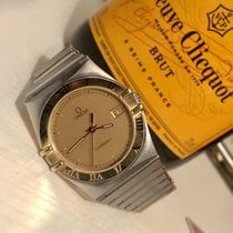 Omega Constellation 18K Solid Gold bezel mens vintage watch + box