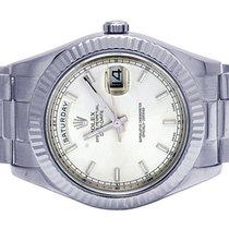 Rolex Day-Date II pre-owned 41mm Silver Date Fold clasp, hidden