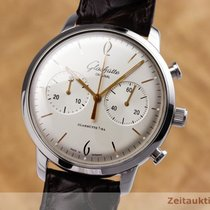Glashütte Original Sixties Chronograph pre-owned 42mm Silver Crocodile skin