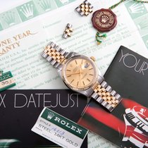 Rolex Men's Datejust YG/SS Champagne Index Fluted Box & Papers