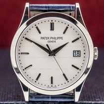 Patek Philippe Calatrava pre-owned 38mm Silver Date Crocodile skin