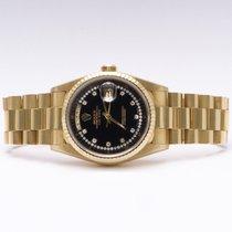 Rolex Day-Date 18238 Black String Dial Diamonds