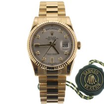 Rolex Day-Date 36 Zuto zlato 36mm Srebro Bez brojeva