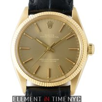 Rolex Oyster Perpetual Vintage 18k Yellow Gold 34mm Champagne...
