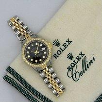 Rolex Lady Datejust 6517 Two-Tone 26mm Black Diamond Dial Gold...