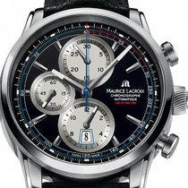 Maurice Lacroix Pontos Chronographe Rétro Staal 43mm Zwart Geen cijfers
