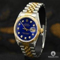 Rolex Datejust Or/Acier 36mm Bleu Sans chiffres