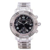 Hermès Clipper Stahl 33mm Schwarz Arabisch