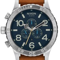 Nixon A124-2186 51-30 Chrono Leather Navy Saddle 51mm 30ATM