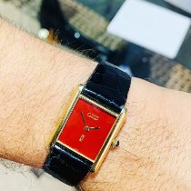 Cartier Silver Manual winding Red No numerals 28mm pre-owned Tank (submodel)
