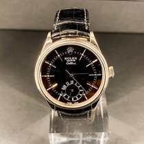 Rolex Cellini Dual Time Or blanc 39mmmm Noir Sans chiffres France, Paris