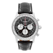 Breitling Steel Automatic Black No numerals 45mm pre-owned Navitimer Rattrapante