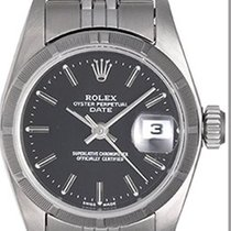 Rolex Ladies Rolex Date Stainless Steel Watch 69190 Black Dial
