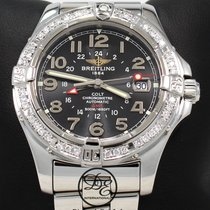 Breitling Colt Gmt A32350 1.45ct Diamond Bezel Black Auto...