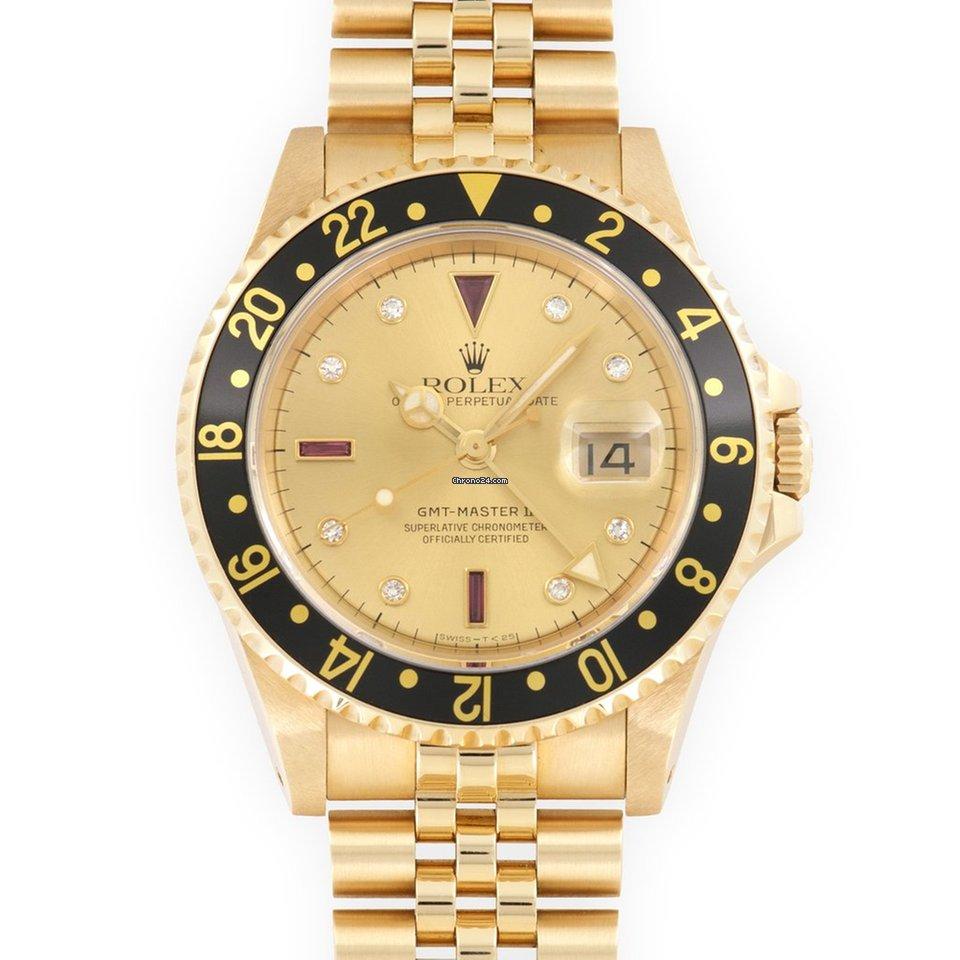 premium selection 15452 4dbf9 Rolex Yellow Gold GMT-Master II Diamond Ruby Watch Ref. 16718