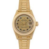 Rolex Datejust Ladies 18k, Diamond/Sapphire String Dial,...