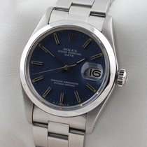 Rolex Chronometer 34mm Automatik 1974 gebraucht Oyster Perpetual Date Silber