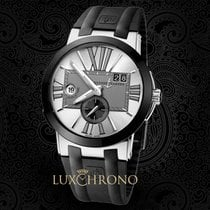 Ulysse Nardin Executive Dual Time Steel 43mm Silver Roman numerals