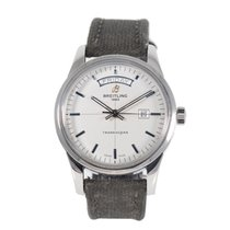 Breitling Transocean Day & Date pre-owned 43mm Grey Textile