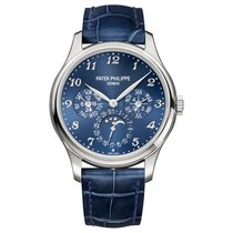 Patek Philippe Perpetual Calendar Or blanc 39mm Bleu Arabes