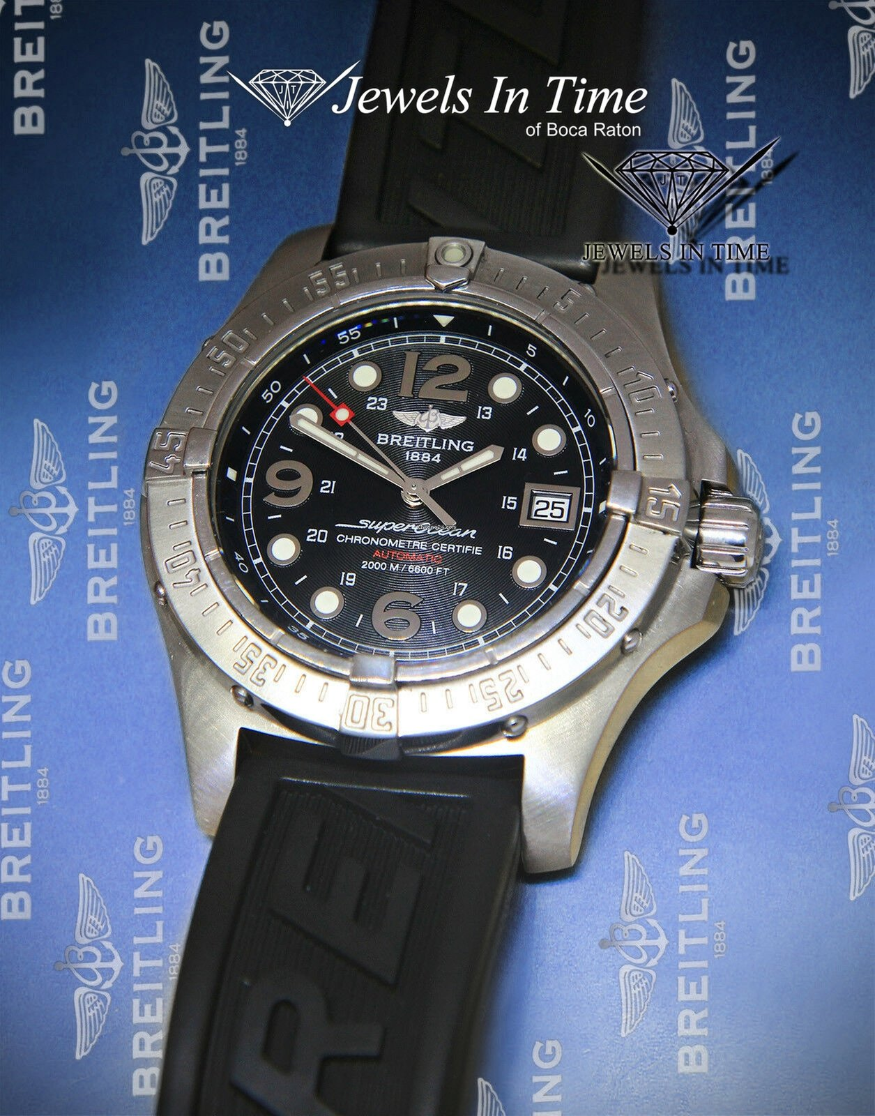 Breitling SuperOcean Steelfish Black Dial Rubber Strap 44mm
