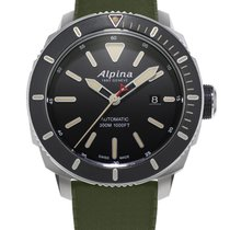 Alpina Seastrong Acero 44mm Negro Sin cifras